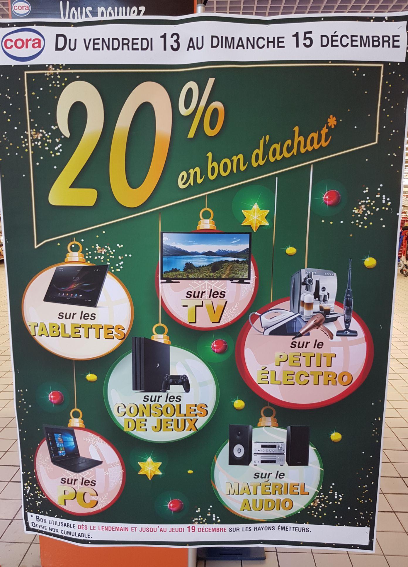 20% en bon d'achat sur l'ensemble des Tablettes/TV/consoles de jeux/pc/matériel audio et petit électro (Creil 60)