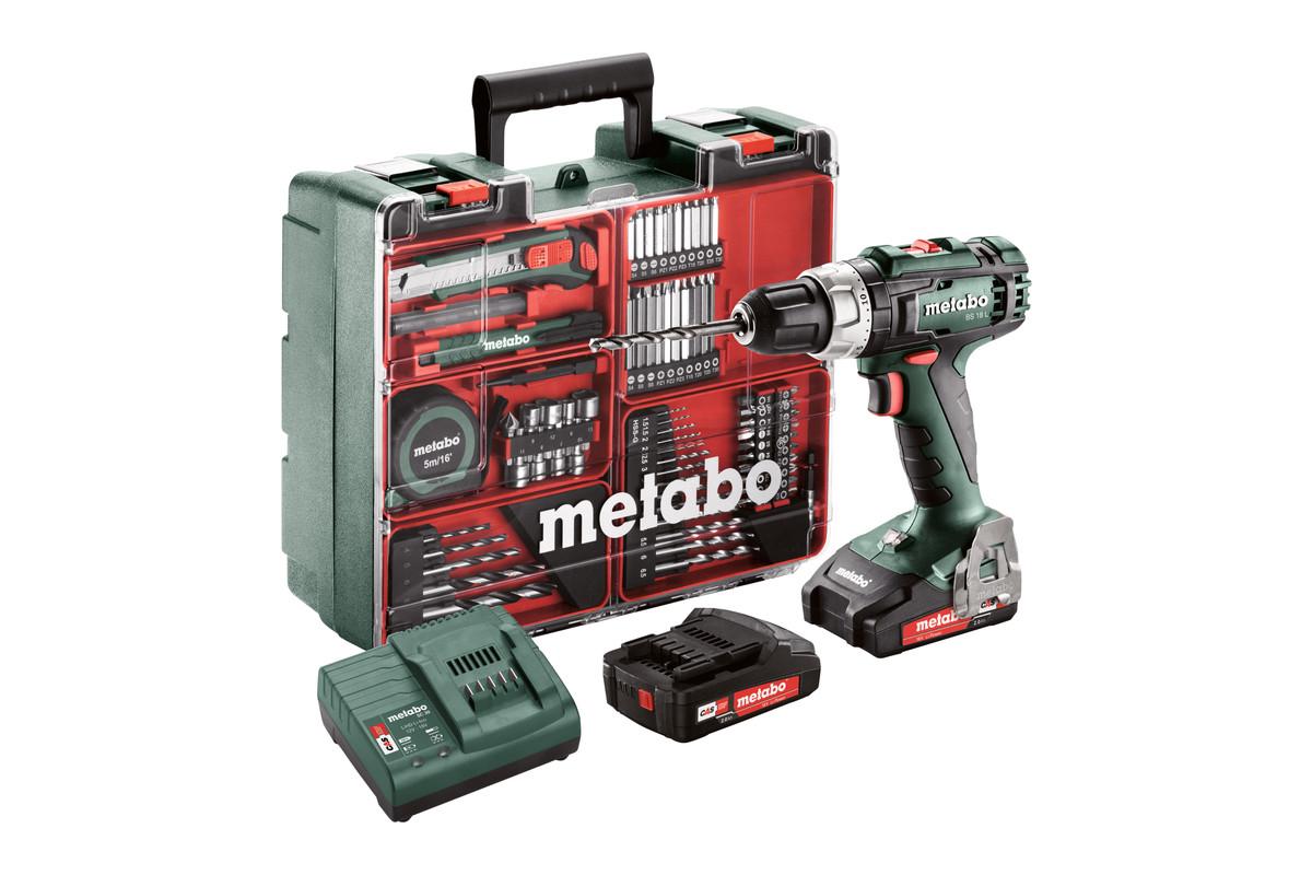 Perceuse visseuse sans fil 18V Metabo BS18L - 50Nm, 74 accessoires, 2 batteries 2.0Ah, chargeur, mallette