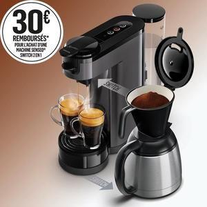 Cafetière à dosettes ou à filtre Philips Senseo Switch HD6591/21 + 15€ de bons à valoir sur des dosettes de café Senseo (via ODR de 15€)