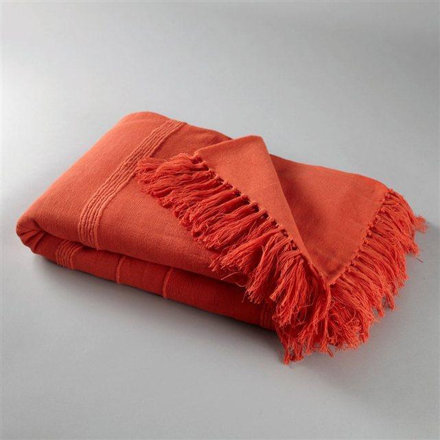 Jeté de lit frangé 250 x 250 - Coloris orange paprika
