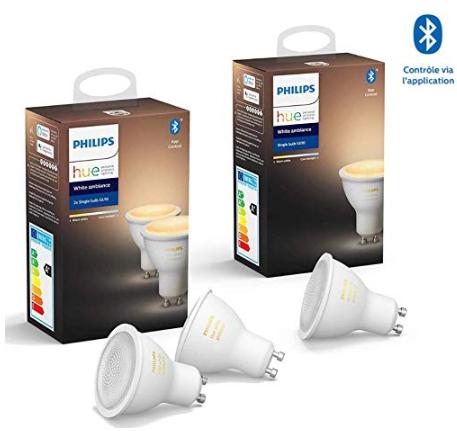Lot de 3 Ampoules connectées Philips Hue White Ambiance - GU10
