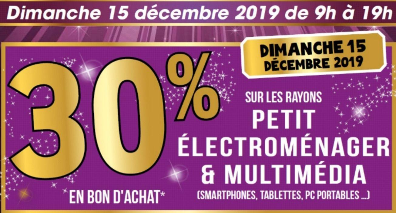 30% en bon d'achat sur les rayons Multimédia et Petit électroménager - Montevrain (77)