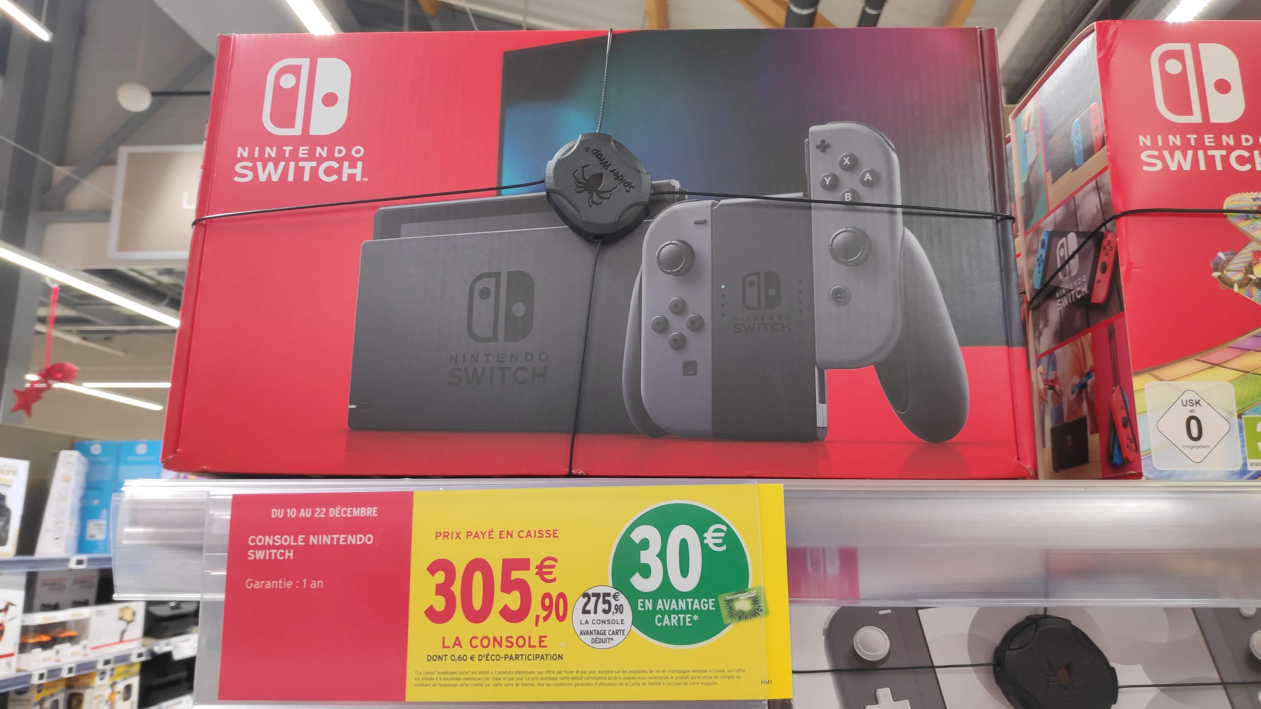 Console Nintendo Switch 2019 Joycon Gris (Via 30€ sur la carte de fidélité)
