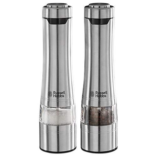 Set de 2 moulins électrique à sel et poivre Russell Hobbs - Acier Brossé, Réglable
