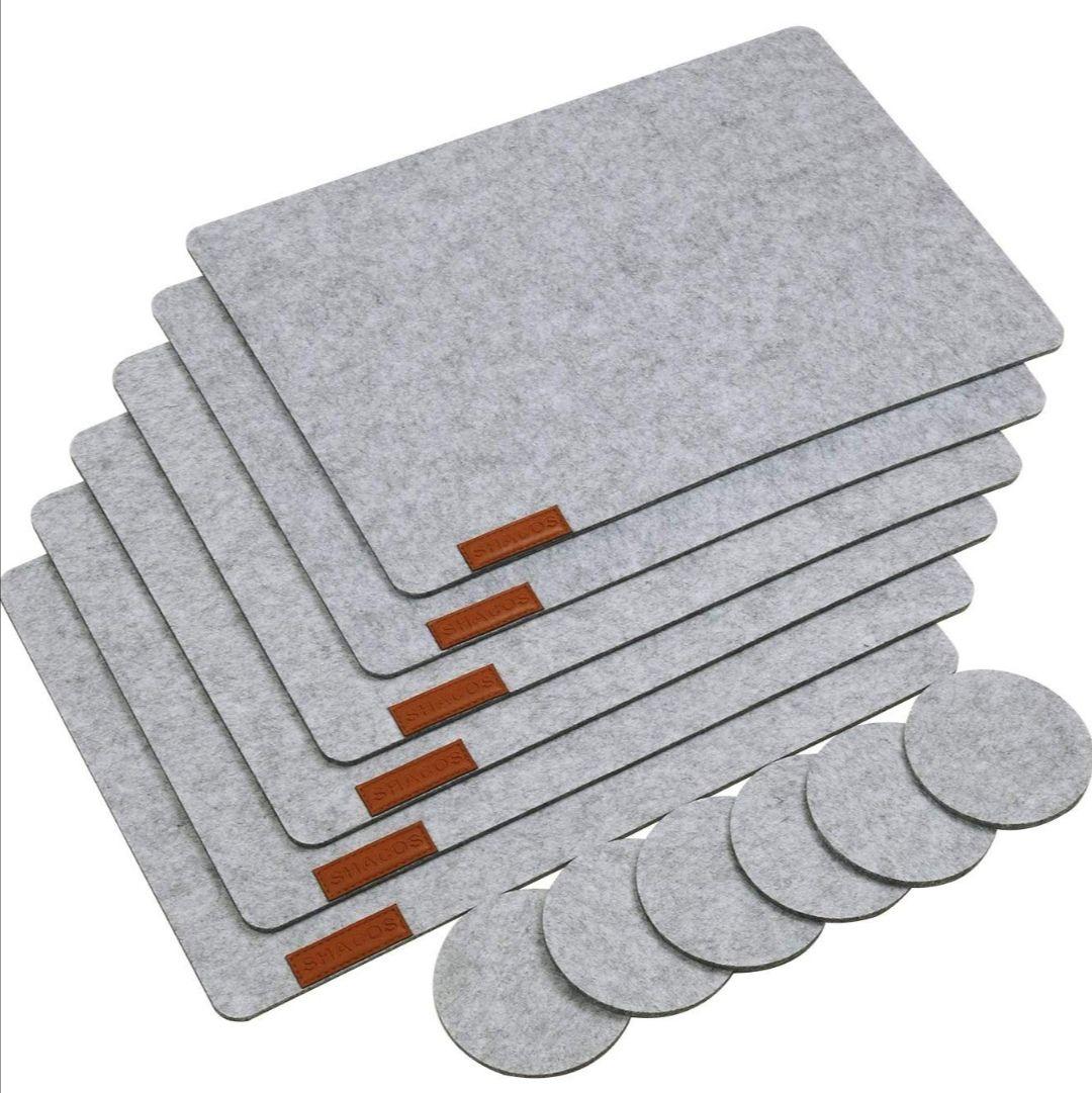 Set de Table en Feutre et Cuir Lavable SHACOS - 12 Pièces (vendeur tiers)