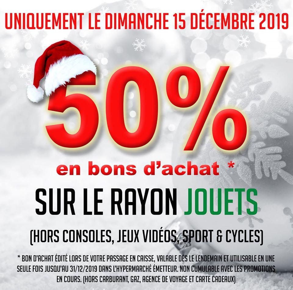 50% offerts en bon d'achat sur le rayon jouets - Dax et St-Paul-lès-Dax (40)