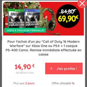 [Appli Casino Max] Call of Duty Modern Warfare sur PS4 ou Xbox One + Casque gaming Konix PS-400 Camo - Toulouse Fenouillet (31)