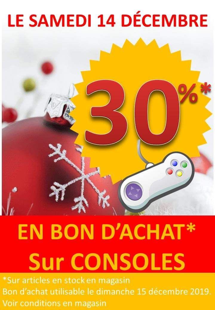 30% offerts de bon d'achat sur le rayon Consoles (Vitry-le-François 51)