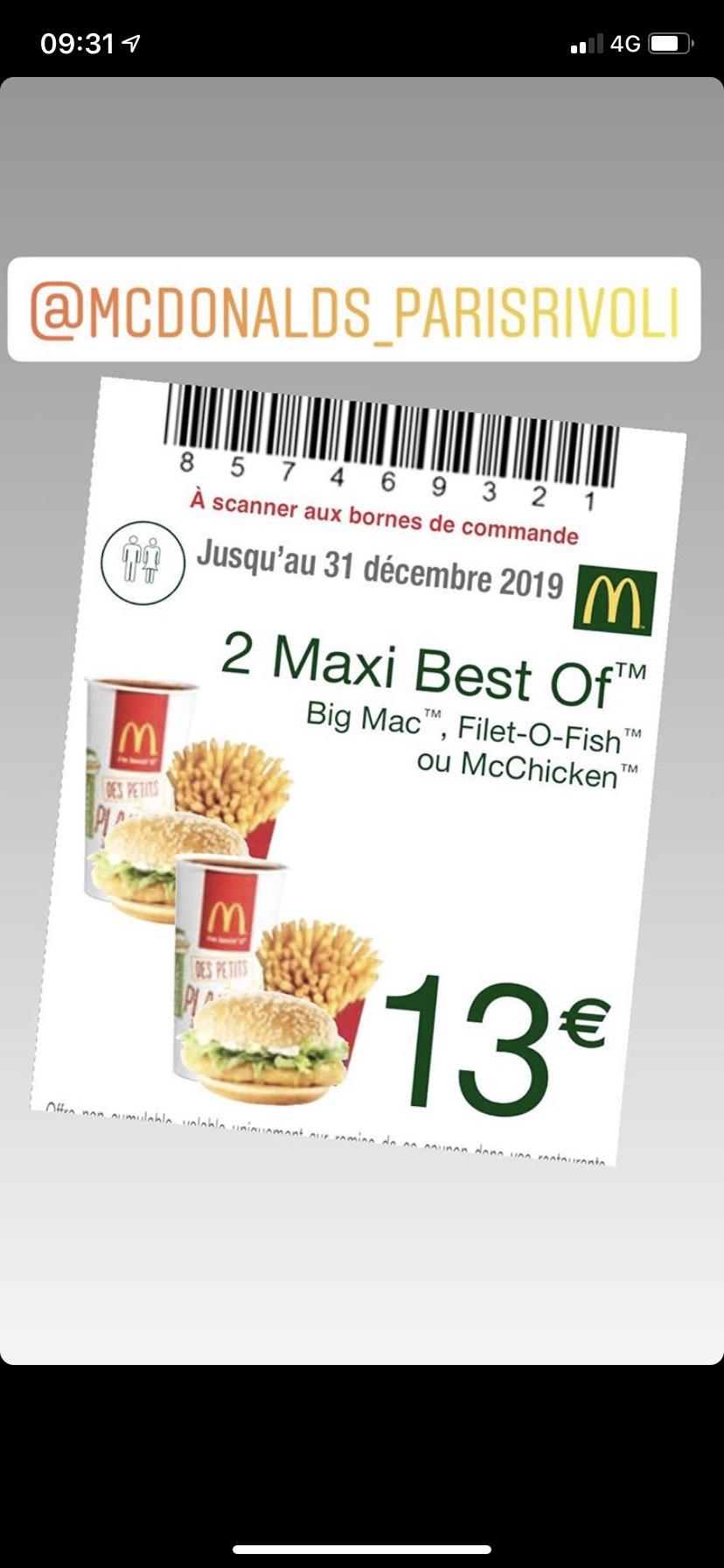 2 Menus Maxi Best Of à 13€ (Rivoli 75001)