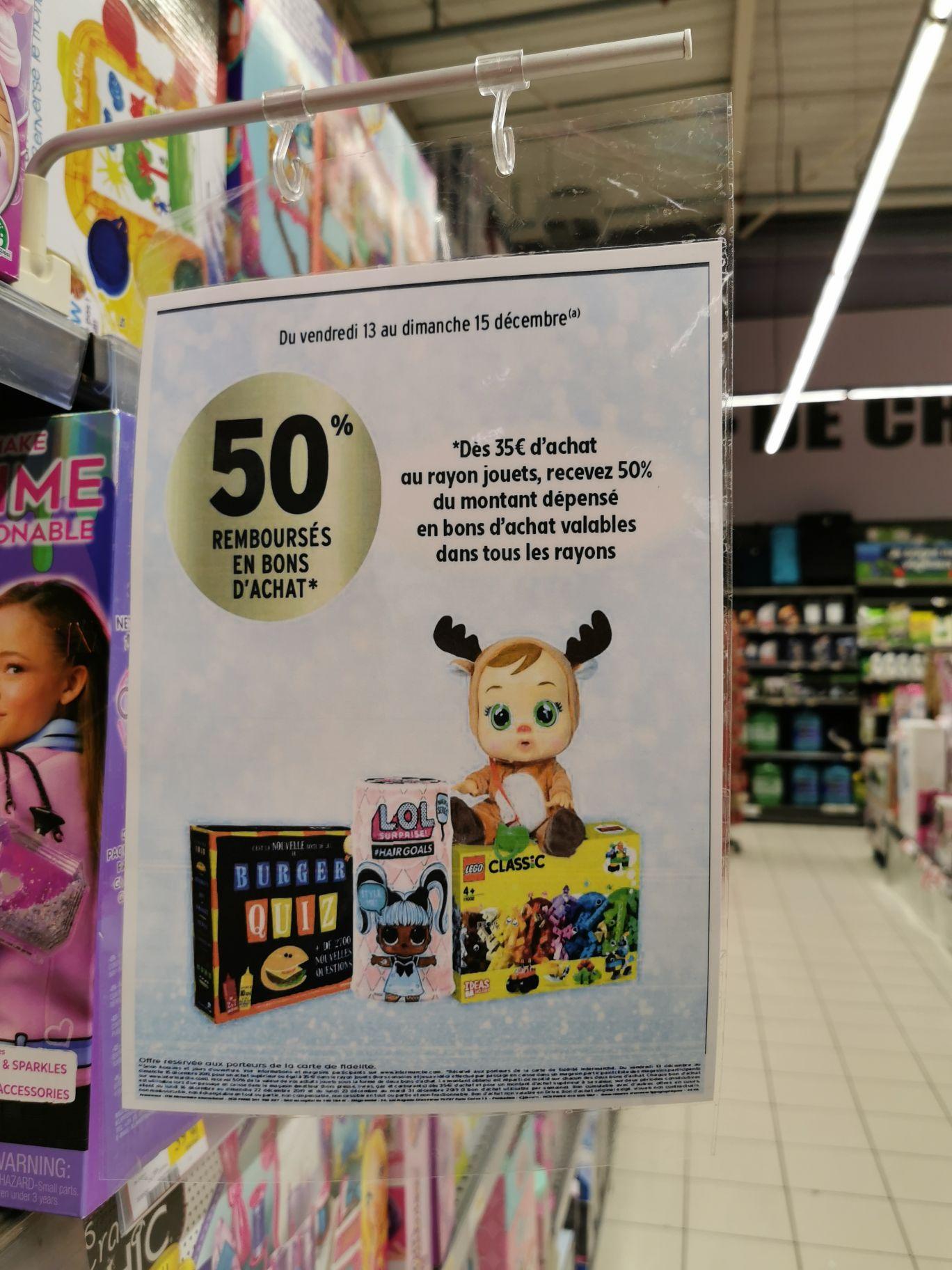 50% remboursé en 2 bons d'achats sur le rayon jouet dès 35€ d'achat - Masny (59)