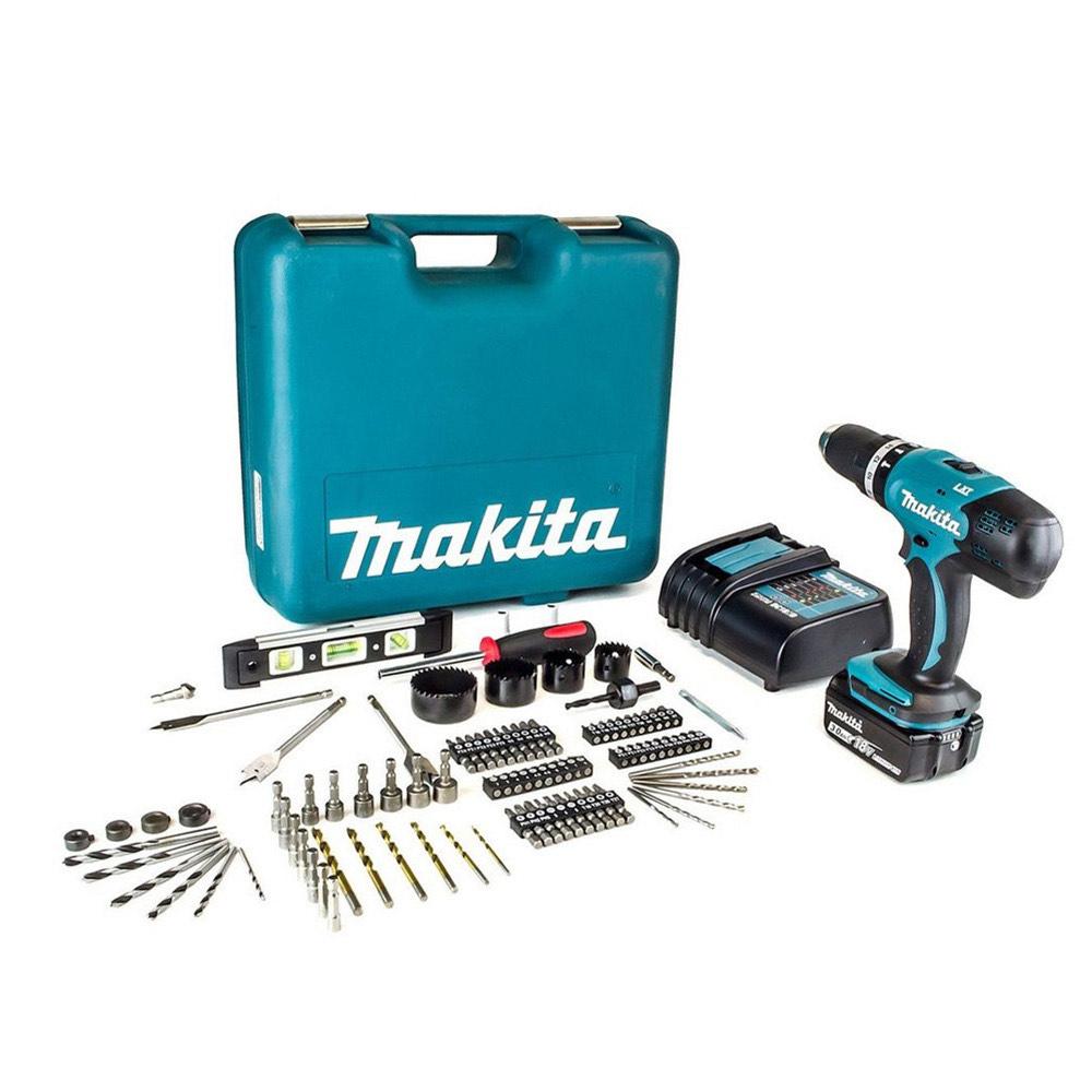 Perceuse à Percussion Makita DHP453SFTK - 18V, 42Nm + 1 Batterie 3Ah Li-Ion + Chargeur + Coffret + 101 Accessoires (149,99€ avec BIENV10)