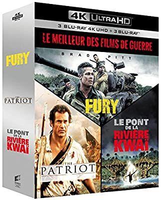Coffret Blu-ray 4K UHD + Blu-ray - Fury + The Patriot + Le Pont de la rivière Kwaï