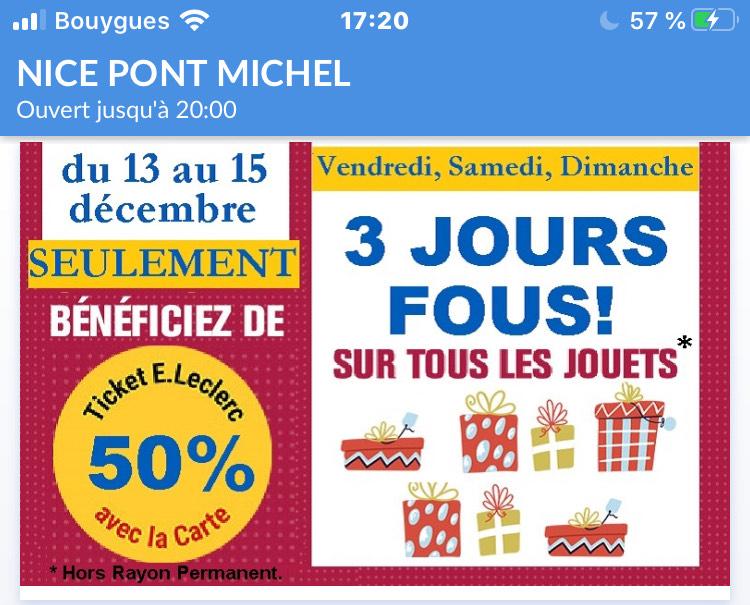 50% remboursés sur la carte fidélité sur tous les jouets - Nice Pont Michel (06)