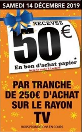 50€ offerts en bon d'achat par tranche de 250€ d'achat sur le rayon TV - Gouesnou (29)
