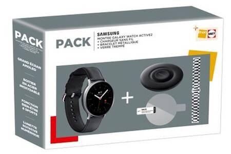 Pack Montre connectée Samsung Galaxy Watch Active 2 - 44 mm + Chargeur Sans-fil + Bracelet Métallique + Verre Trempé (Via ODR de 50€)