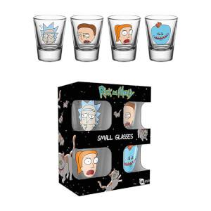 Pack Rick et Morty - 4 verres à shot, 4 dessous de verres, 6 badges, 1 paillaison