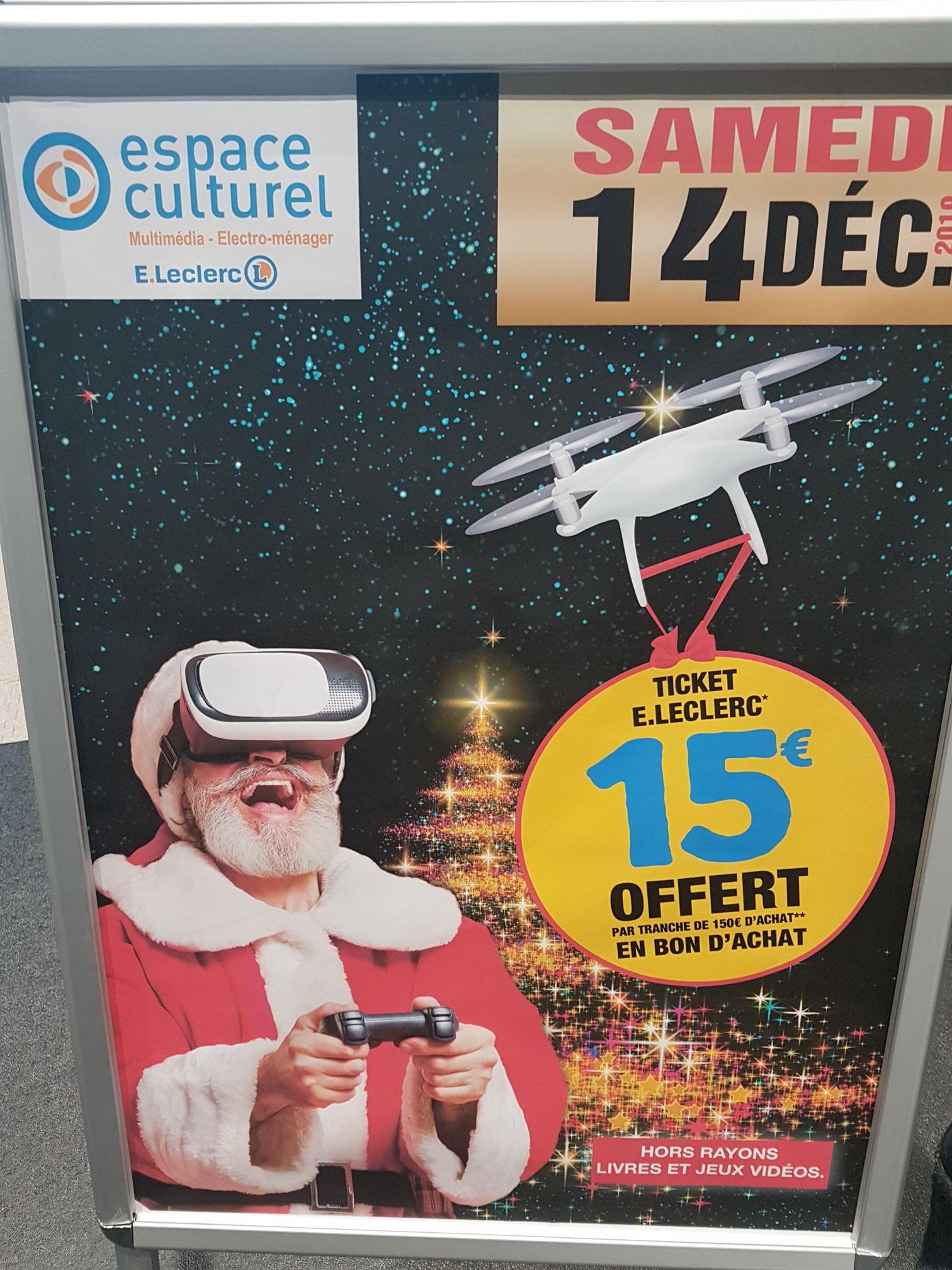 15€ offert en bon d'achat par tranche de 150€ (Niort 79)