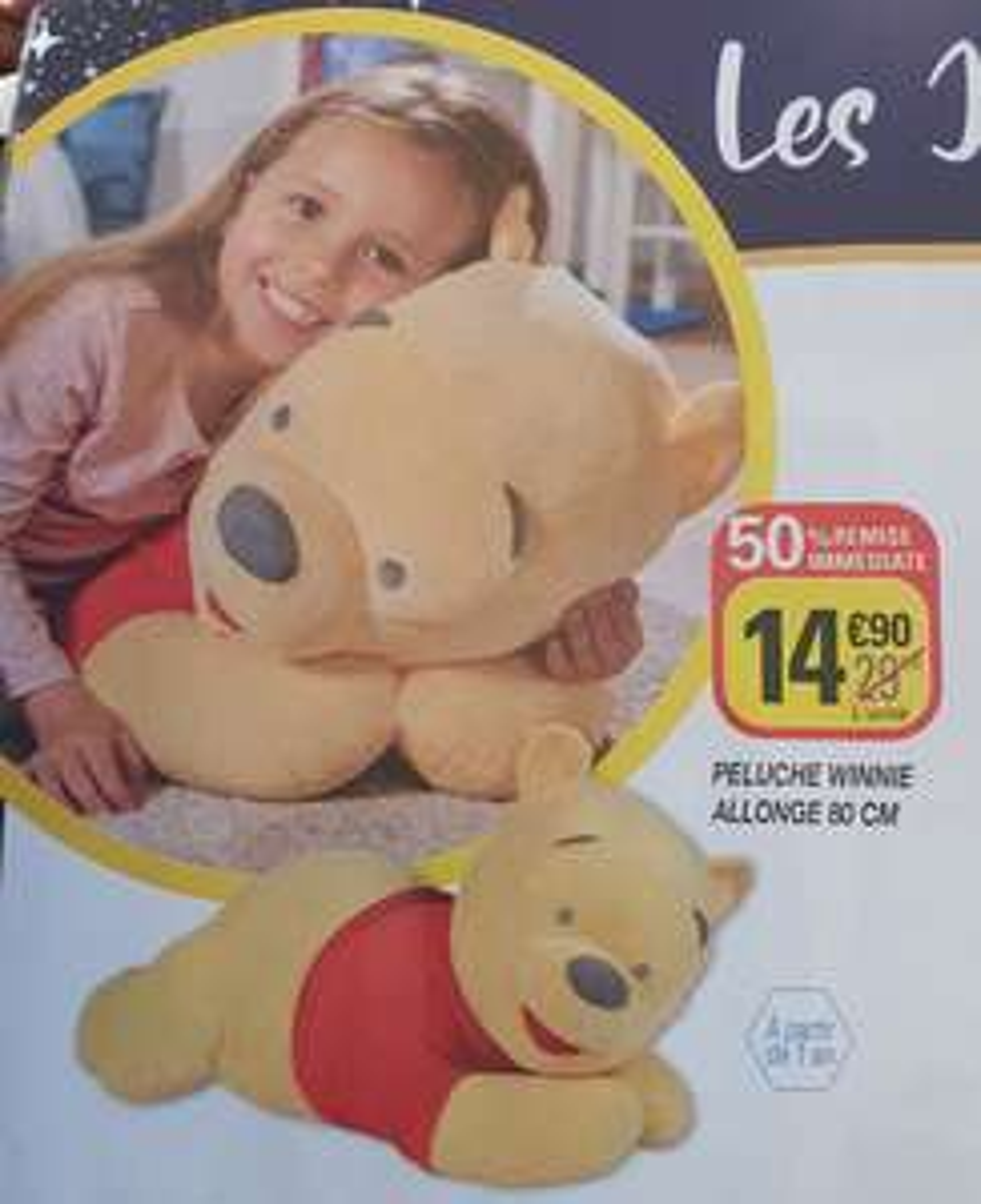 Peluche Winnie allongé - 80 cm