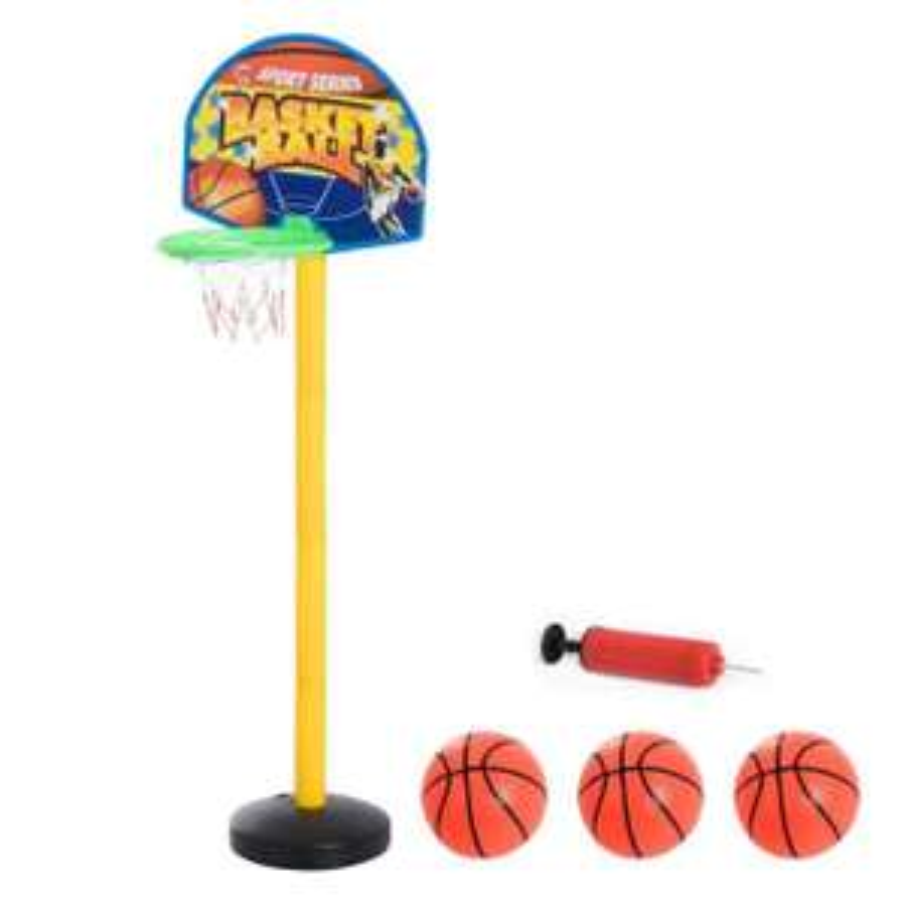 Panier de Basket-Ball sur pied avec poteau panneau + 3 ballons + pompe hauteur réglable 0,60 - 1,32 m jaune noir (Vendeur tiers)
