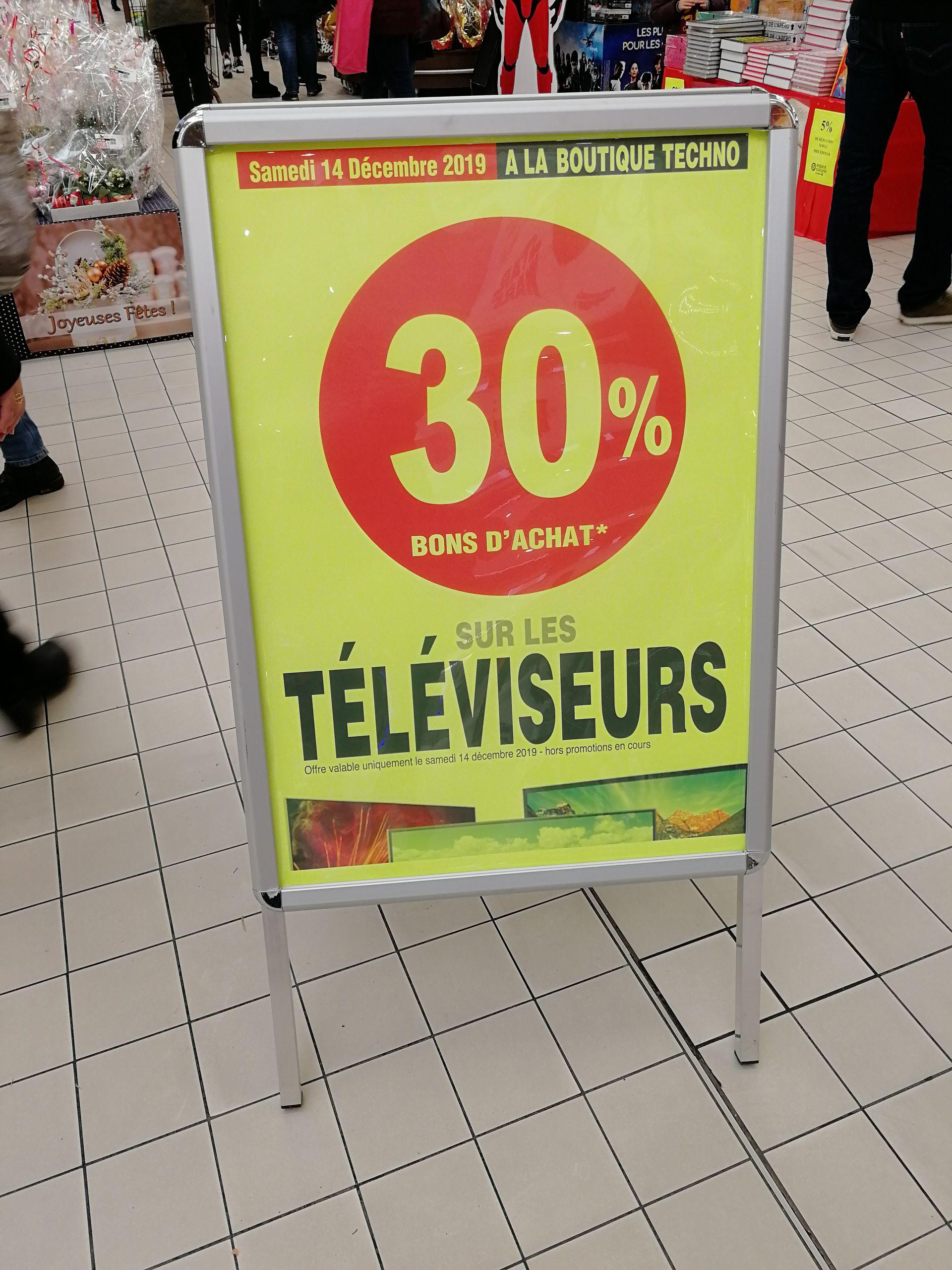 30% offerts en bon d'achat sur les téléviseurs - Vitry-sur-Seine (94)