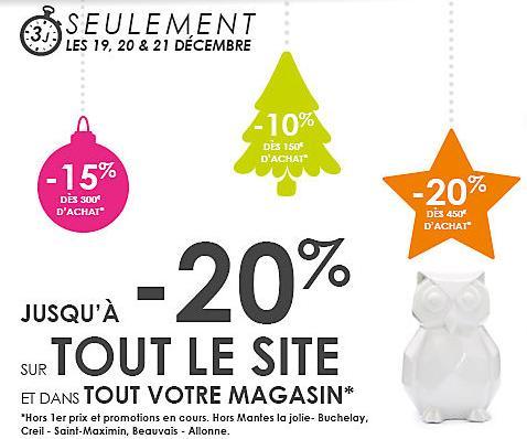 20% de réduction dès 450€ d'achat, 15% dès 300€ et 10% dès 150€ sur tout le site et le magasin (voir conditions)