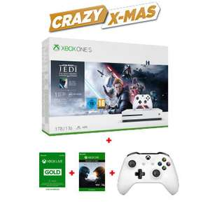 Pack Xbox One S (1 To) Minecraft + Halo + 2ème Manette + 6 mois Xbox Gold (via l'Application)