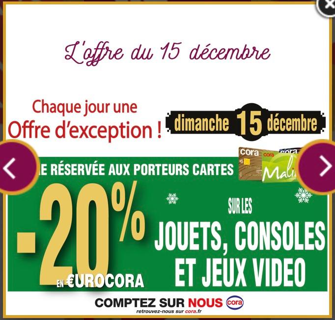 20% offert sur la carte sur les jouets, consoles et jeux vidéo - Cora à Lempdes (63)