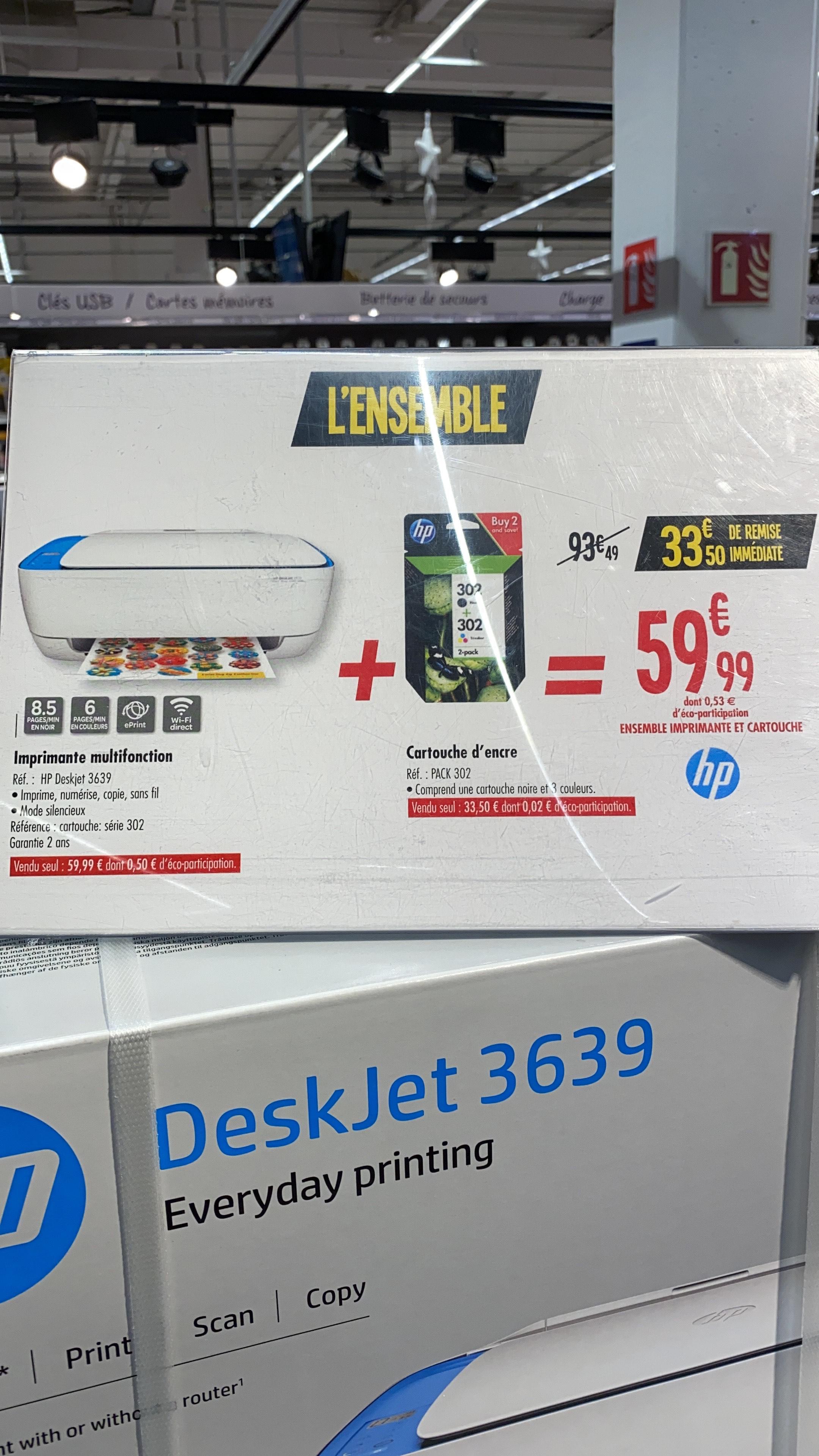 Imprimante HP Deskjet 3639 + 1 cartouche noire + 1 cartouche 3 couleurs - Givors (69)