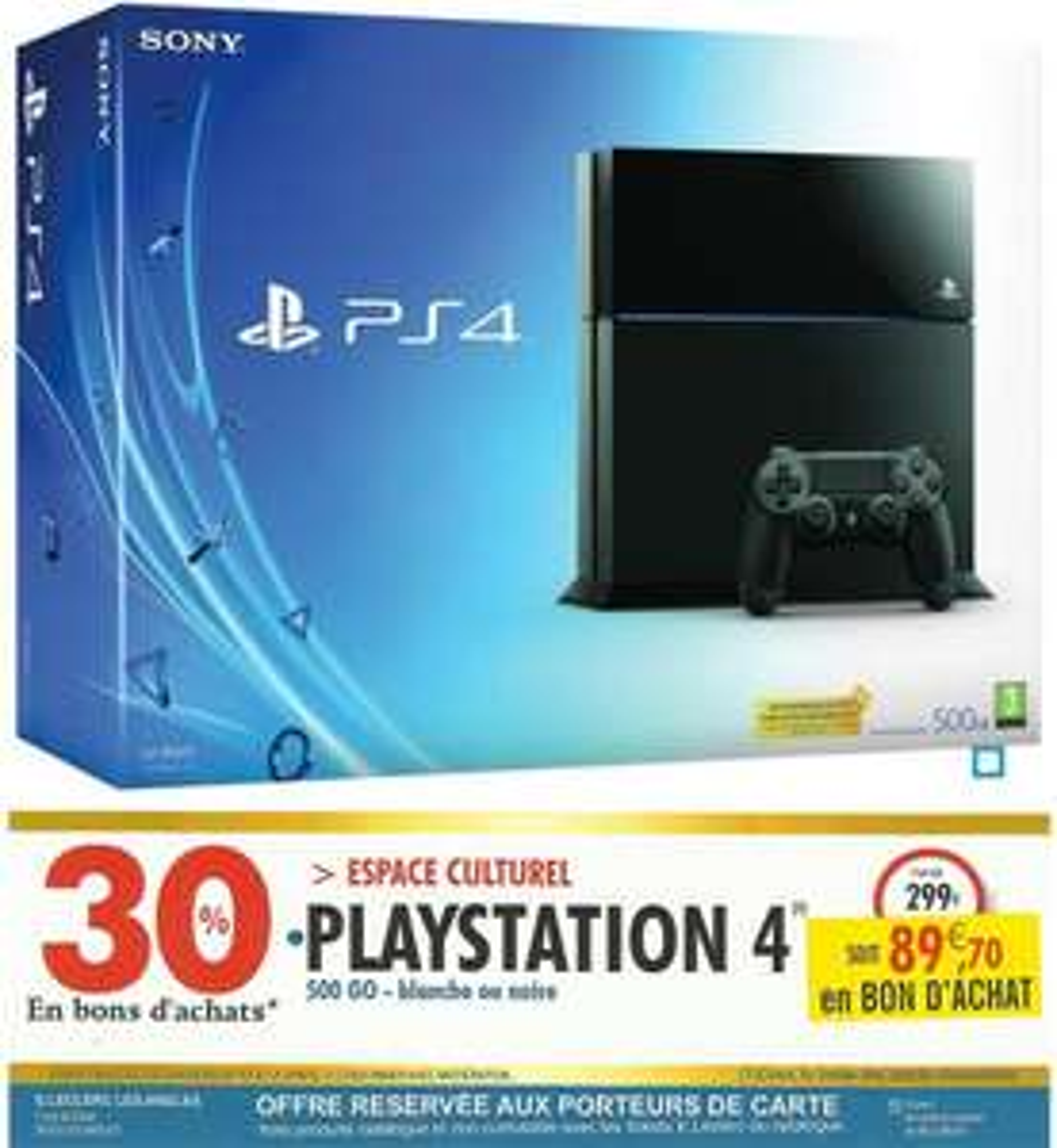 Console Sony PS4 500 Go (avec 89,70€ en bon d'achat) - Blanche ou Noire