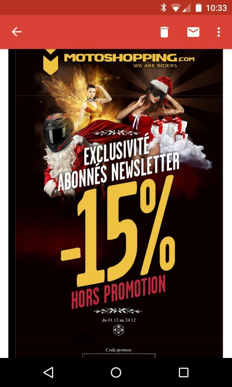 15% de réduction sur tout le site (hors promotion)