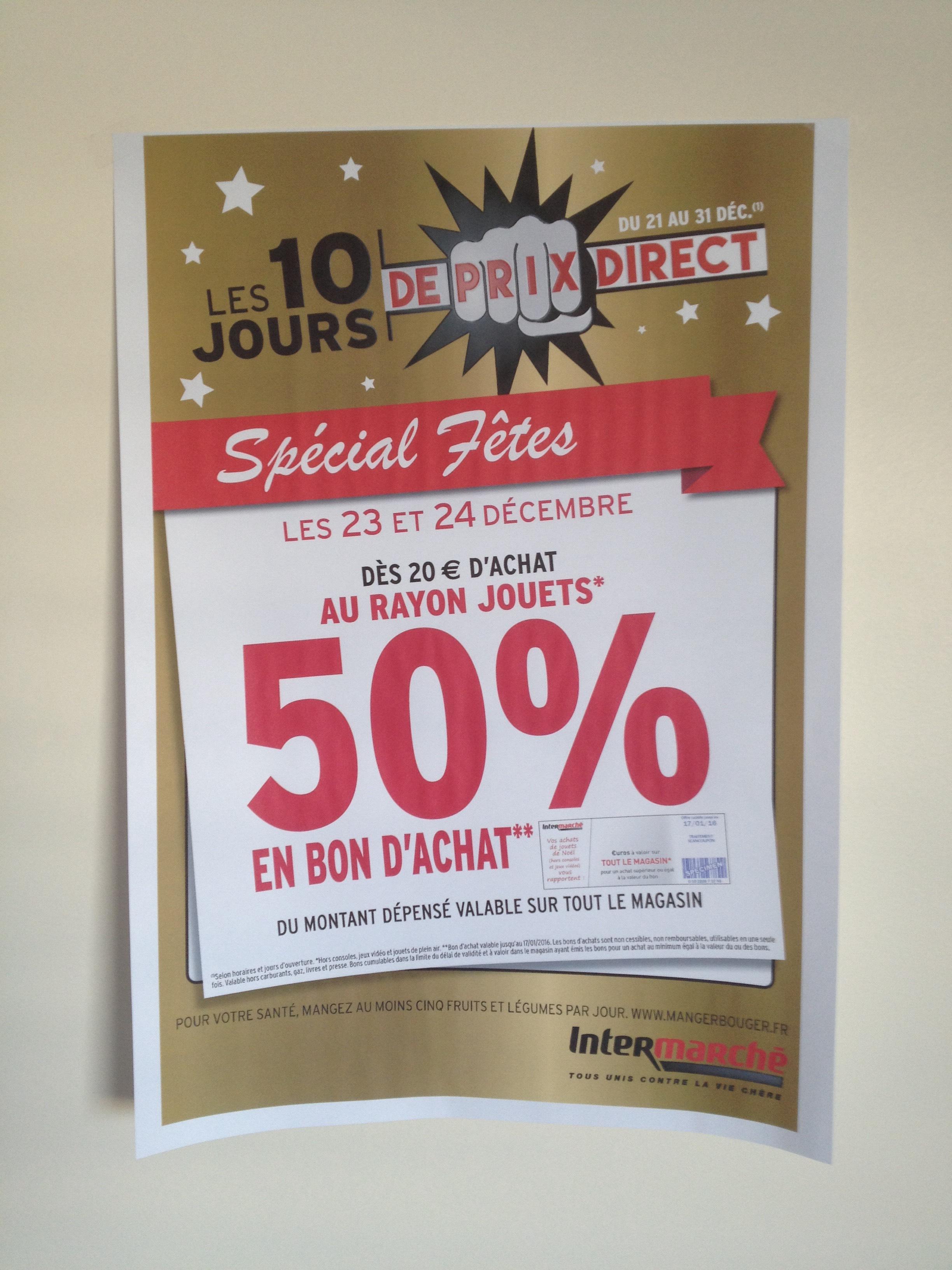 50% offerts en bon d'achat dès 20€ d'achat sur les jouets + avantages carte jusqu'à 40% = -90%