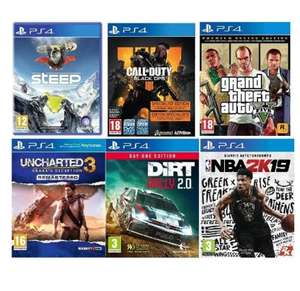 Pack 6 jeux PS4 : Steep + Uncharted 3 + Call of Duty Black Ops + Grand Theft Auto V + Dirt Rally (Vendeur Tiers)