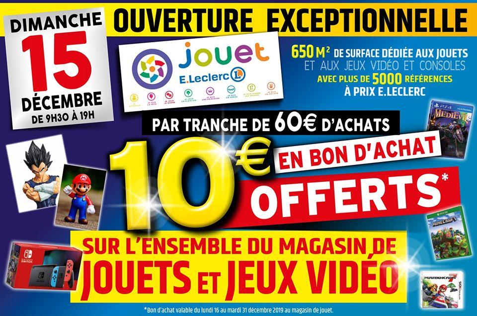 10€ offerts en bon d'achat par tranche de 60€ sur l'ensemble du magasin Leclerc Jouet - Caudry (59)