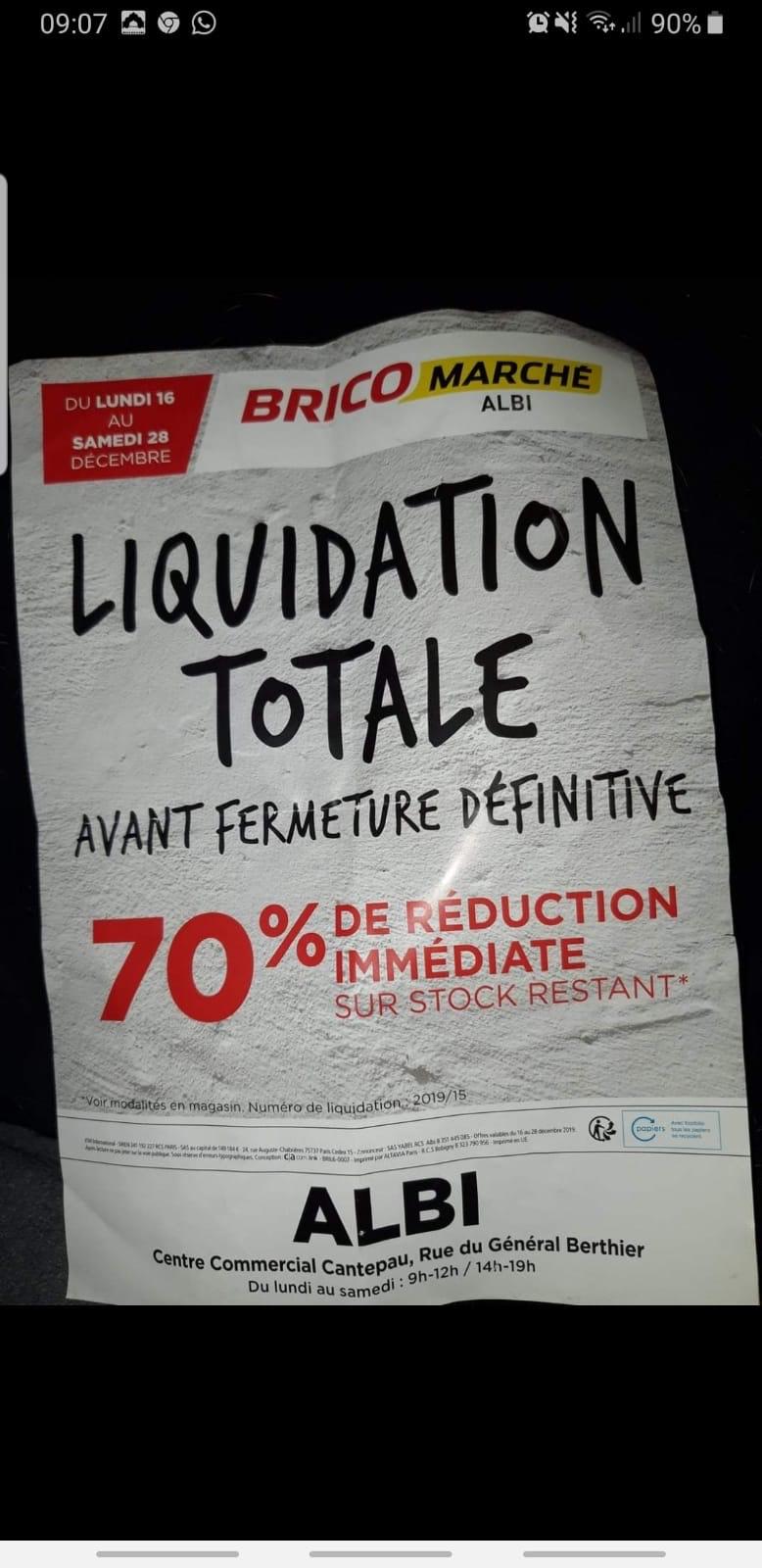 Liquidation totale avant fermeture -70 % sur le stock restant - Albi (81)