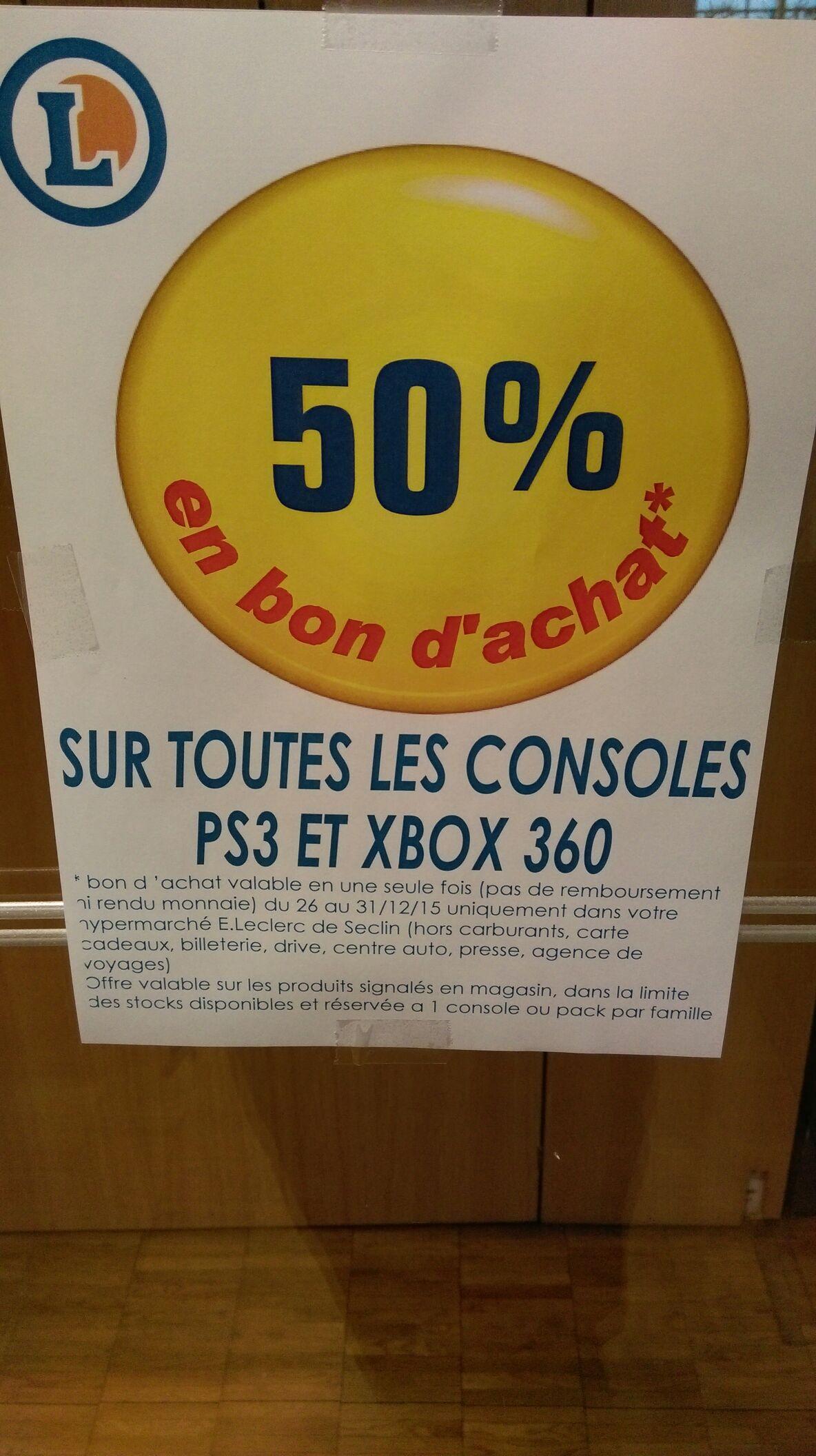 50% en bon d'achat sur les PS3 et Xbox 360 - Ex: Pack Xbox 360 250 Go + Call of Duty Black Ops 2 (avec 140€ en bon d'achat)
