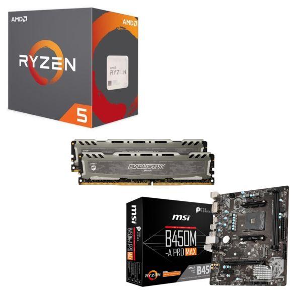 Pack Processeur AMD Ryzen 5 2600 + Kit mémoire RAM Ballistix Sport LT 16 Go DDR4 + Carte mère MSI B450M-A PRO MAX