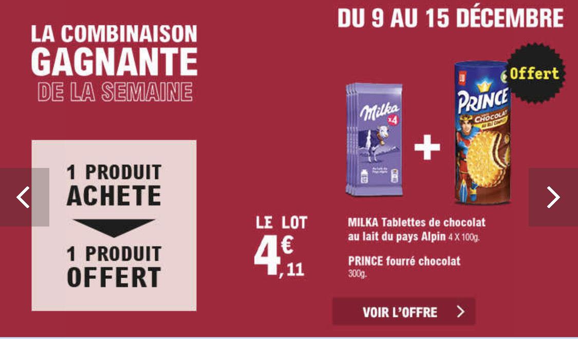 Biscuit Prince de Lu + Lot de 4 tablettes de chocolat Milka