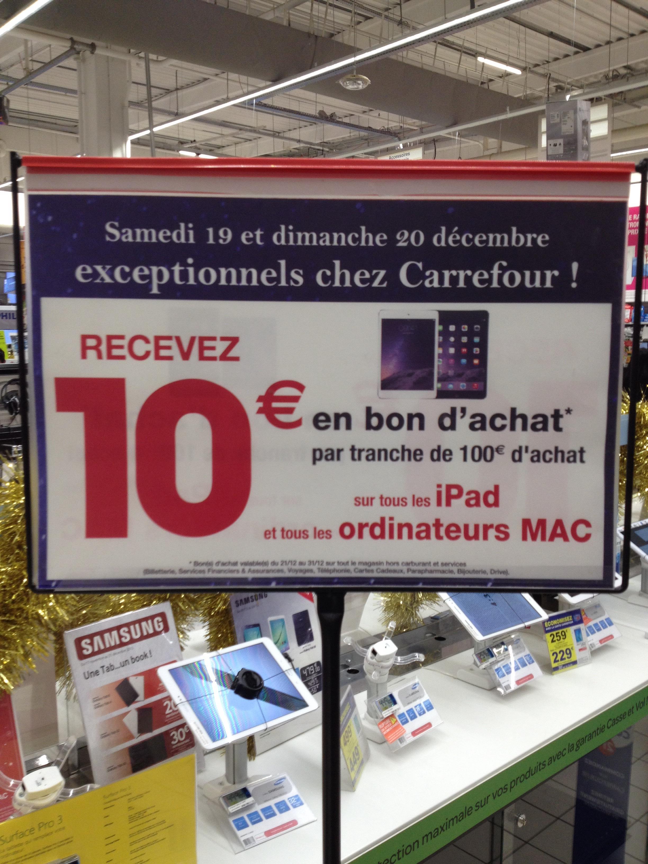 10€ offerts en bon d'achat par tranche de 100€ sur les iPad et Mac
