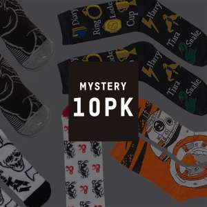 Lot de 10 paires de chaussettes Geek Mystères (Star Wars, The Big Lebowski, Harry Potter, Marvel, DC Comics)