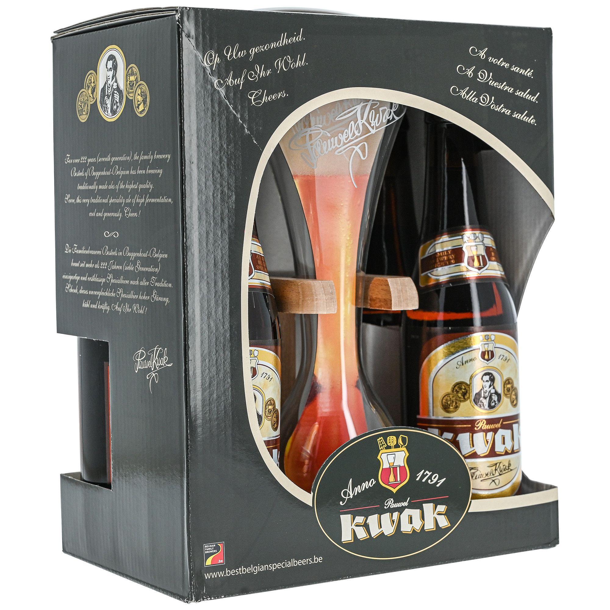 Coffret de 4 Bières Ambrées Kwak - 4 x 33cl + Verre à Cocher - Firminy (42)