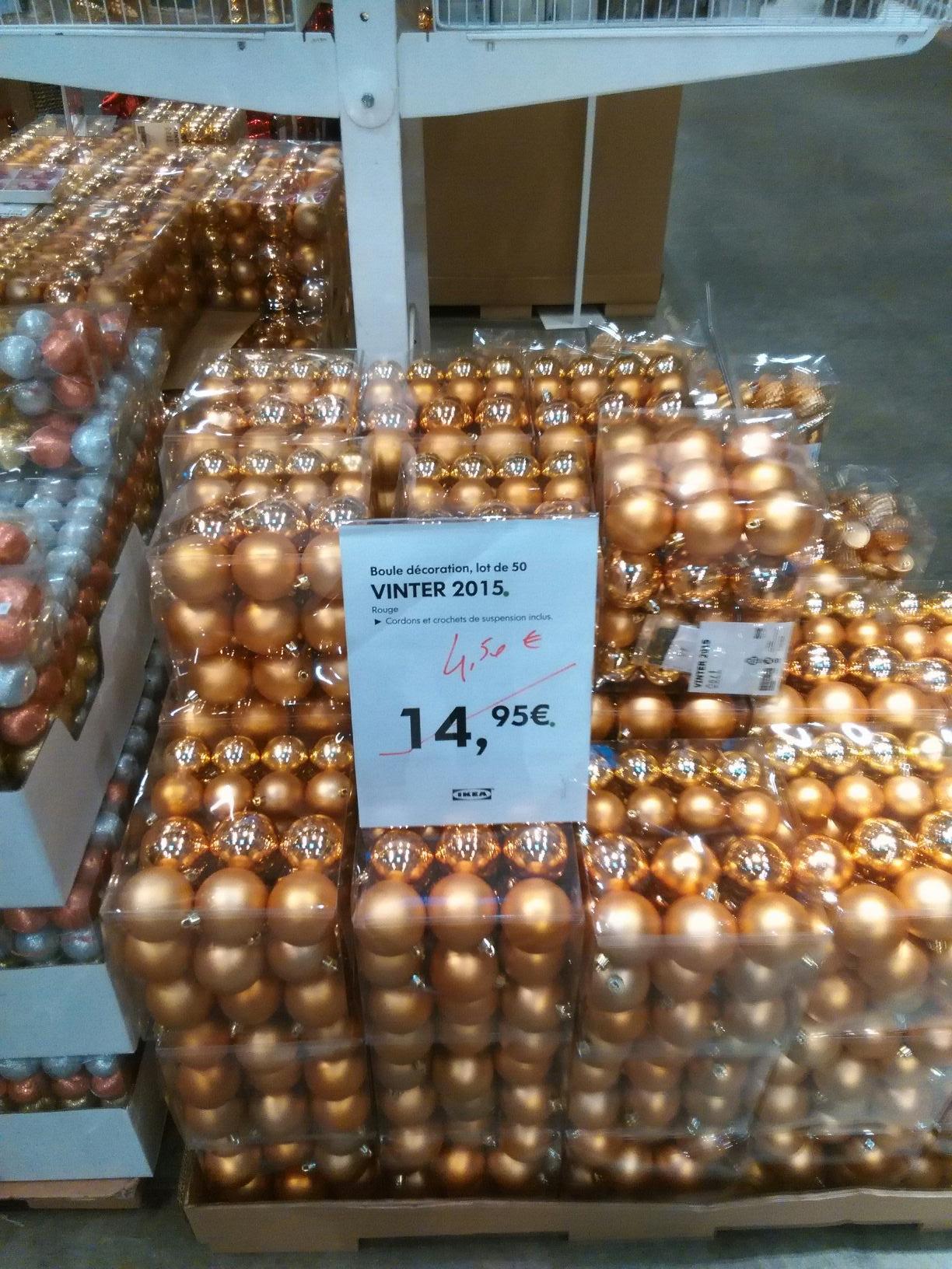 Jusqu'à -70% de réduction sur les décorations et luminaires de Noël - Ex: Lot de 50 boules Vinter 2015