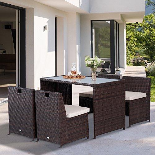 Salon de Jardin encastrable - 4 chaises monoblocs avec Coussins déhoussables et Table résine tressée Chocolat (Vendeur tiers)