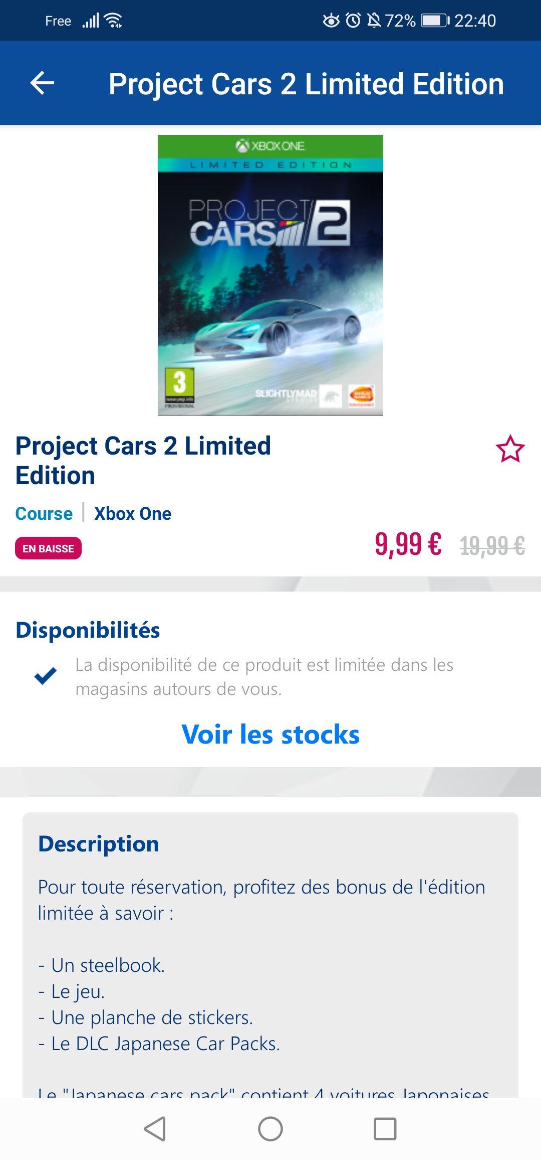 Project cars 2 limited edition sur Xbox One (Dans une sélection de magasins), destiny 2 aussi