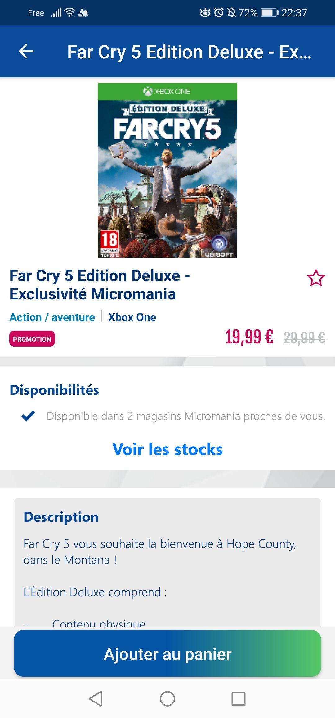 Far Cry 5 edition deluxe sur Xbox One (Dans une sélection de Magasins)