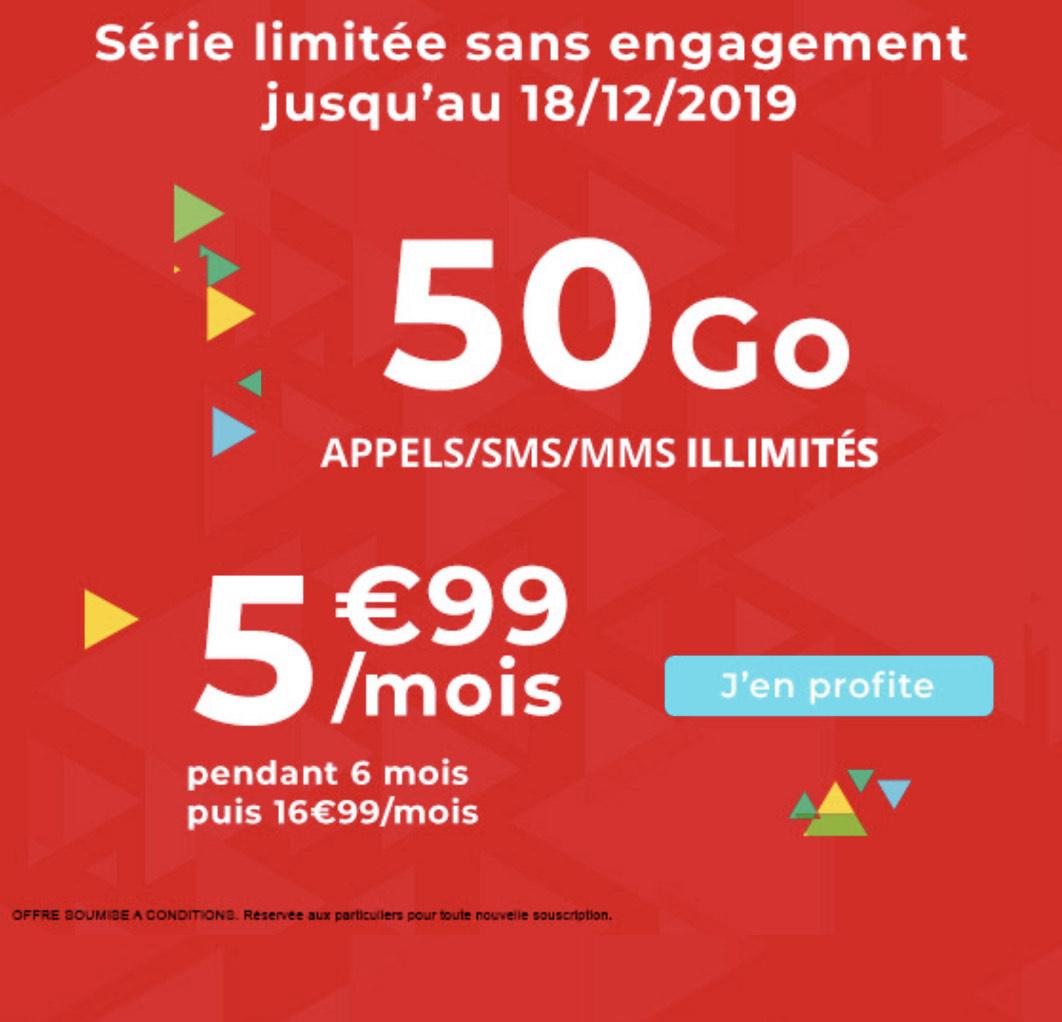 [Nouveaux Clients] Forfait Mobile Mensuel - Appels/SMS/MMS illimités + 50Go de DATA (Pendant 6 mois - Sans Engagement)