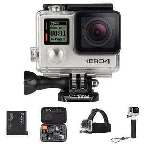 Camera sportive GoPro Hero 4 + Poignée Flottante GoPro + Batterie Rechargeable GoPro + Fixation bandeau Amazon Basics + Etui de transport