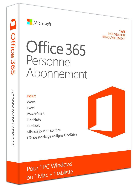 Office 365 Personnel pour 1 PC / Mac + 1 Tablette / iPad - 1 an d'abonnement