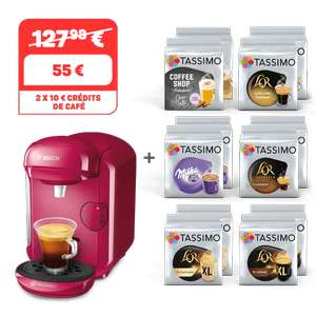 12 paquets de dosettes Tassimo achetés = une machine Tassimo Happy Wild Purple offerte