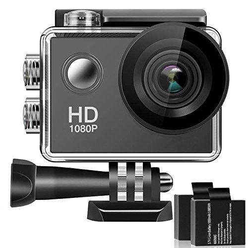 Caméra sportive - Full HD, 170 °Grand-Angle, Ecran LCD, 2 Batteries et 16 Accessoires (Vendeur tiers)