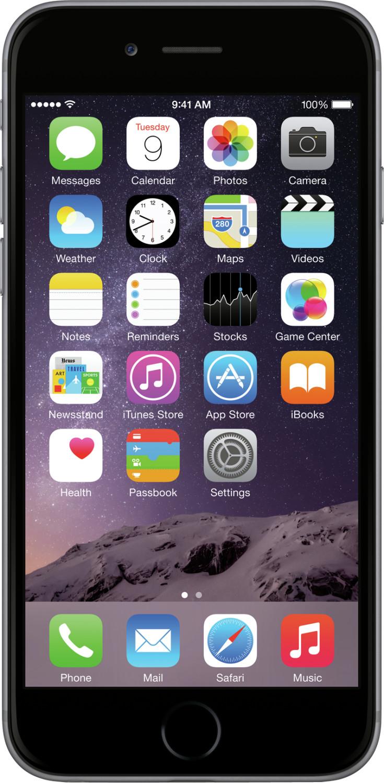 "Smartphone 4.7"" Apple iPhone 6 (HD+, A8, 1 Go de RAM, 16 Go, gris sidéral) - reconditionné Grade B"